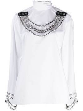 Christopher Kane crystal chain necklace blouse - White