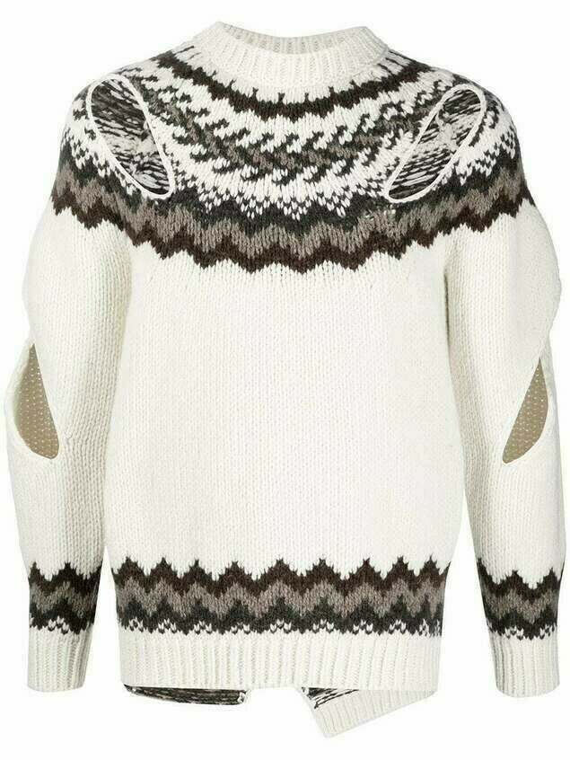 Stefan Cooke cut-out wool jumper - Neutrals