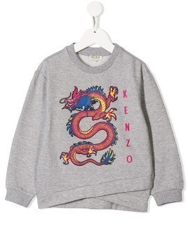 Kenzo Kids dragon print sweatshirt - Grey