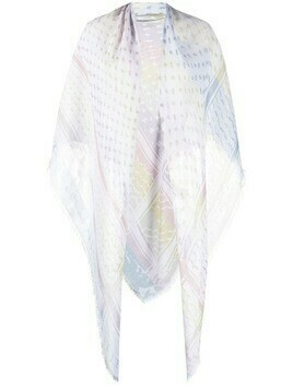Lala Berlin stripe-print frayed-edge scarf - Blue