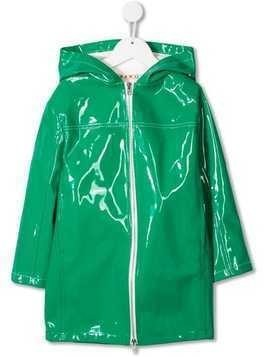 Marni Kids wet-look rain coat - Green