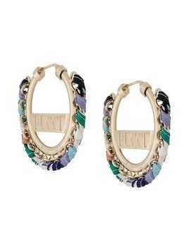 Emilio Pucci Logo Engraved Woven Hoop Earrings - Gold