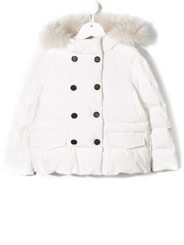 BRUNELLO CUCINELLI KIDS faux-fur hooded jacket - White