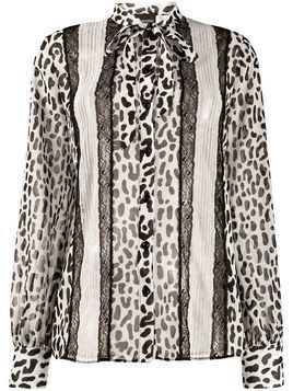 Ermanno Ermanno animal print lace blouse - White