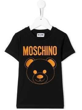 Moschino Kids embroidered logo bear T-shirt - Black
