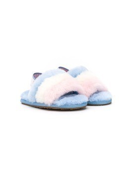 UGG Kids fluffy slider slippers - Blue