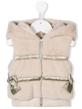 Lapin House hooded furry gilet - Neutrals