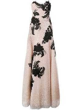 Marchesa floral embroidered gown - Pink