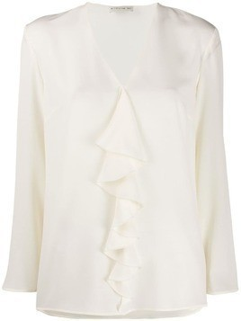 Etro ruffle long-sleeve blouse - White