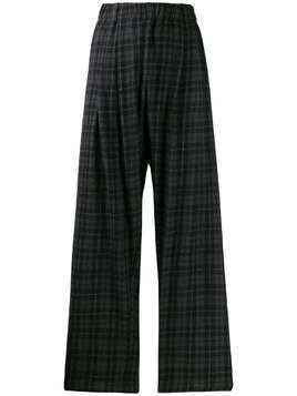 Apuntob cropped checked trousers - Black