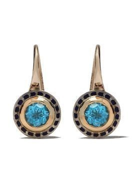 Alice Cicolini 14kt and 22kt gold and silver Tile mini hook earrings - Gold & Blue