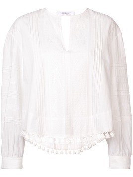 Derek Lam 10 Crosby Tassel and Lace-Trimmed Pintuck Cotton Blouse - White