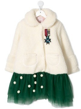 Efvva contrast embroidered coat - White