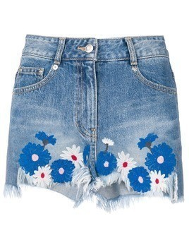 SJYP floral embroidered denim shorts - Blue