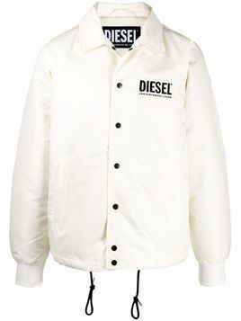 Diesel logo print wind breaker jacket - White