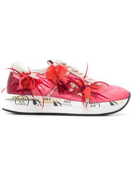 White Premiata Conny floral appliqué sneakers - Pink & Purple