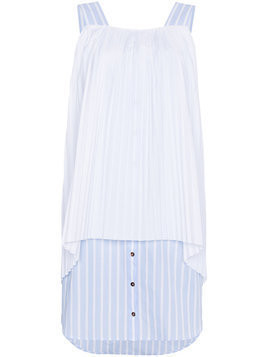 Monographie sleeveless pleated stripe cotton dress - White