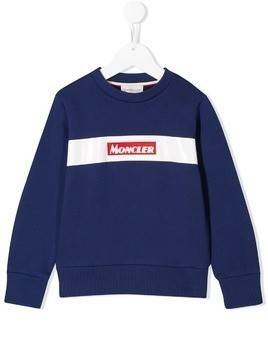 Moncler Kids logo embroidered sweatshirt - Blue