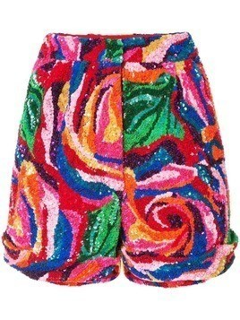 Manish Arora rose pattern sequinned shorts - Multicolour