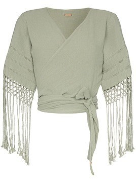 Caravana Antigone fringed sleeves wrap top - Green