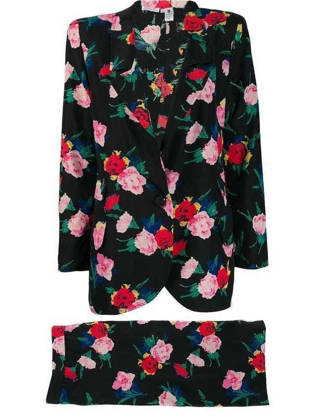Emanuel Ungaro Pre-Owned 1980's floral skirt suit - Black