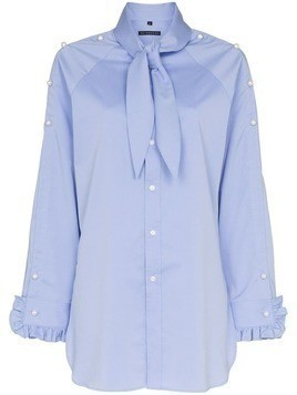 Blindness pearl-appliqué shirt - Blue