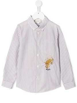 Gucci Kids tiger embroidered button down shirt - Blue