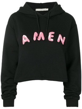 Amen sequin embroidered logo hoodie - Black