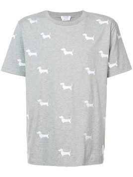 Thom Browne Hector embroidery shortsleeved T-shirt - Grey