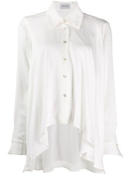 Balossa White Shirt curved high low hem shirt