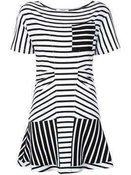 Derek Lam 10 Crosby Striped Short Sleeve Crewneck Dress with Flared Skirt - White