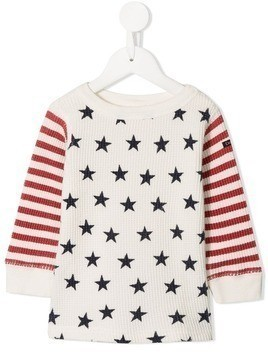 Denim Dungaree star and stripes jumper - White
