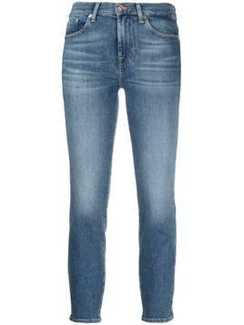 7 For All Mankind mid-rise skinny cropped jeans - Blue