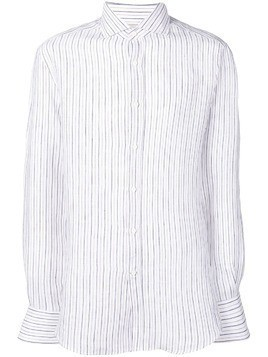 Brunello Cucinelli striped spread collar shirt - White