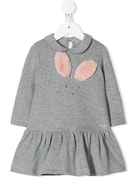 Il Gufo bunny embroidered dress - Grey