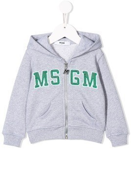 Msgm Kids embroidered logo hoodie - Grey