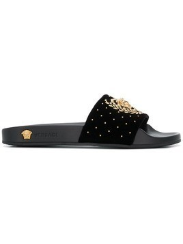 Versace Medusa Leaves slides - Black