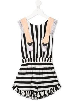 WAUW CAPOW by BANGBANG Mexico striped playsuit - Black
