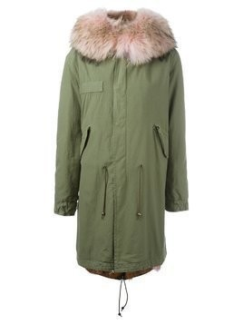 Mr & Mrs Italy trimmed hood mid parka - Pink & Purple