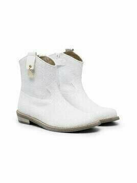 Monnalisa leather ankle books - White