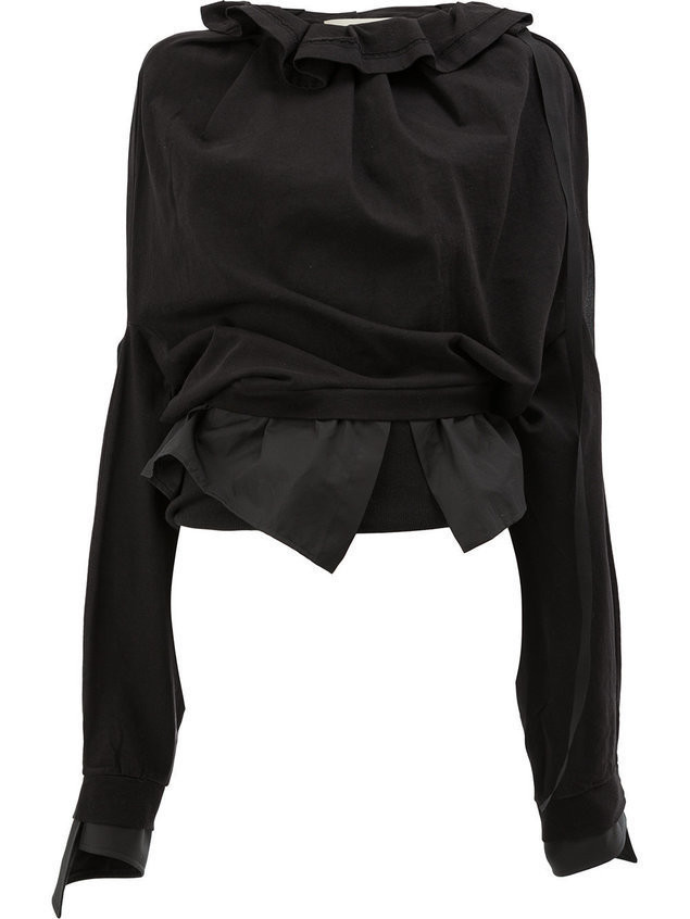 Aganovich ruffle neck sweatshirt - Black