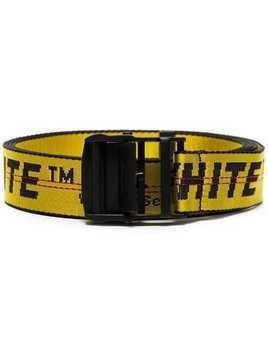 Off-White black and yellow industrial logo belt