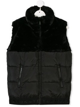 Dkny Kids TEEN faux fur padded gilet - Black