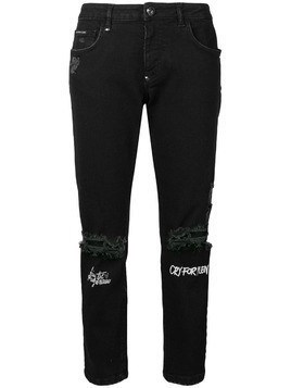 Philipp Plein distressed cropped jeans - Black