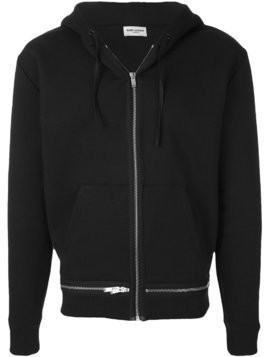 Saint Laurent zipped hooded sweatshirt - Black