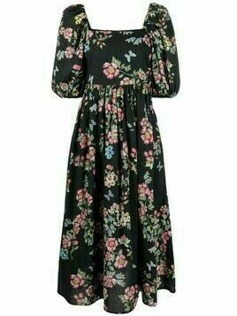 Vivetta floral-print puff-sleeved dress - Black