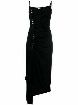 Paco Rabanne ruched asymmetric dress - Black