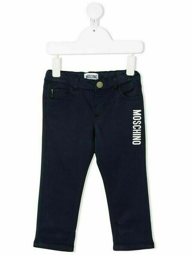 Moschino Kids logo-printed jeans - Blue