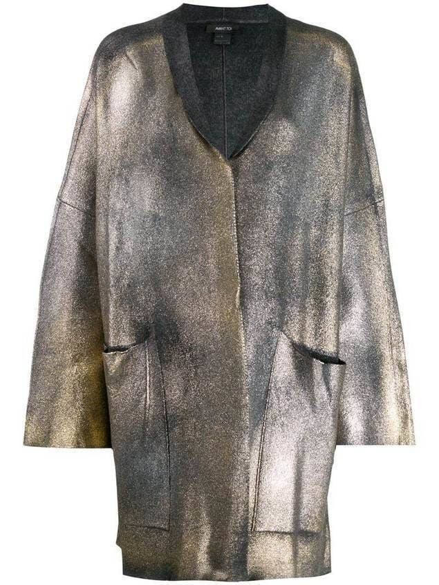 Avant Toi coated metallic cardigan - Grey