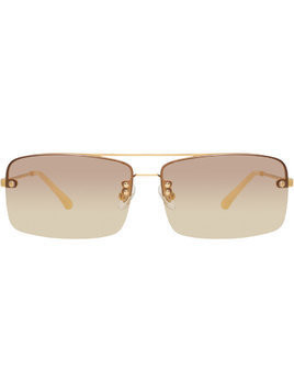 Linda Farrow Dries Van Noten rectangular sunglasses - Metallic